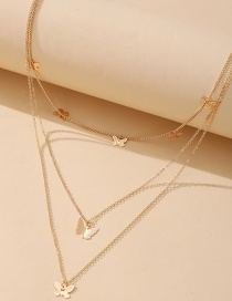 Fashion Gold Color Alloy Butterfly Pendant Three Layer Necklace