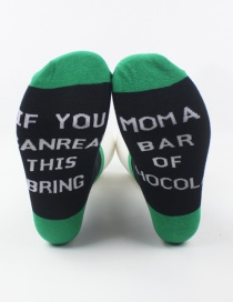 Fashion Green Letter Hit Color Cotton Socks