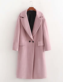 Fashion Pink Double-breasted Solid Color Lapel Coat