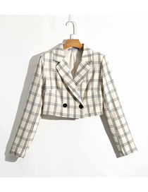 Fashion Beige Check Print Short Jacket Suit