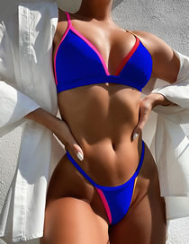 Fashion Royal Blue Triangle Contrasting Color Covered Split Swimsuit