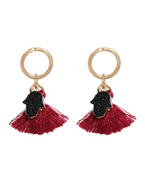 Fashion Red Long Fringed Palm Resin Alloy Earrings