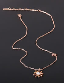 Fashion Rose Gold Color Chrysanthemum And Diamond Stainless Steel Necklace