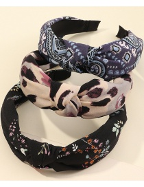 Fashion Cashew Print Knotted Flower Print Wide-brim Hair Band Set