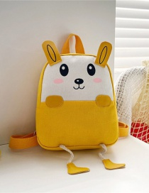 Fashion 19 Inch One Yellow Canvas Bunny Elephant Stitching Contrast Backpack