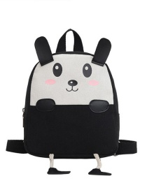 Fashion 16 Inch One Black Canvas Bunny Elephant Stitching Contrast Backpack