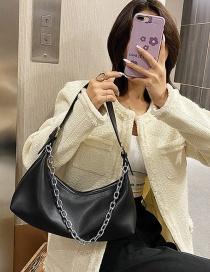 Fashion Black Pu Zebra Zebra Pinstripe Shoulder Bag