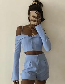 Shorts De Color Liso Con Pliegues Y Botonadura Sencilla