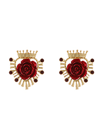 Fashion Love Crown Alloy Resin Rose Earrings