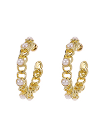 Fashion Gold Color Alloy Pearl Chain Semicircle Earrings