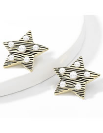 Fashion Ancient Gold Color Five-pointed Star Horizontal Stripe Geometric Alloy Inlaid Pearl Earrings