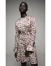 Fashion Colorful Floral Printed Long Sleeve Panel Dress