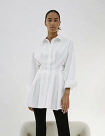 Fashion White Pleated Single-breasted Shirt Dress