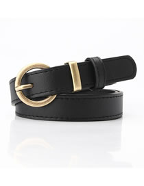 Fashion Black Faux Leather Round Buckle Belt With Pin Buckle
