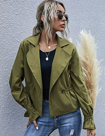 Fashion Army Green Lapel Flared Sleeve Long Sleeve Coat
