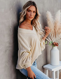 Fashion Apricot Solid Color Loose Knit Long Sleeve V-neck Sweater