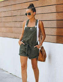 Fashion Army Green Sleeveless Lace-up Slim High Waist Overalls