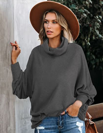 Fashion Gray High Neck Loose Solid Color Long Sleeve Sweater