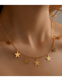 Fashion Five-pointed Star Diamond Five-pointed Star Butterfly Slap Pendant Necklace