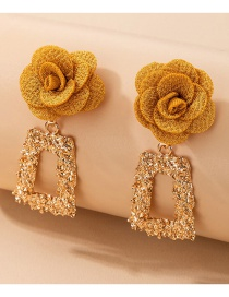 Fashion Golden Generous Three-dimensional Flower Embossed Square Earrings