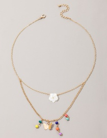 Fashion Golden Rice Beads Beaded Flowers And Butterflies Multilayer Necklace