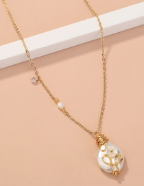 Fashion Golden Pearl Winding Geometric Alloy Necklace