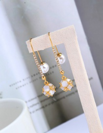 Fashion Golden Opal Pearl And Diamond Chain Alloy Earrings
