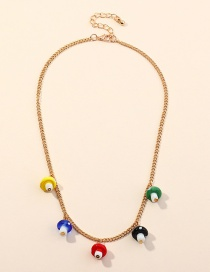 Fashion Golden Small Mushroom Resin Contrast Alloy Single Layer Necklace