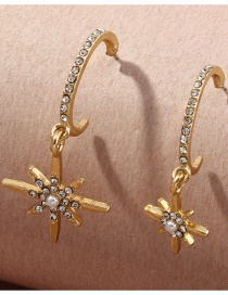 Fashion Golden Diamond C-shaped Eight-pointed Star Earrings