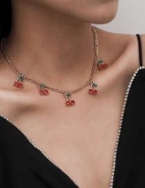 Fashion Red Diamond Necklace Gold Single Layer Small Cherry Diamond Pendant Necklace Earrings