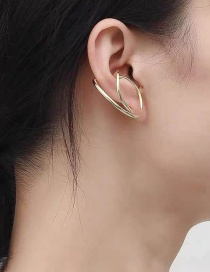 Fashion Golden Pair Curved Copper Plated Gold-plated Non-pierced Ear Bone Clip