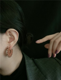 Fashion Coffee Color Handmade Leather Round Alloy Earrings