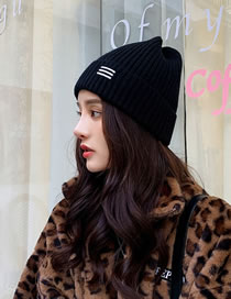 Fashion Black Knitted Solid Color Curled Three-bar Wool Hat