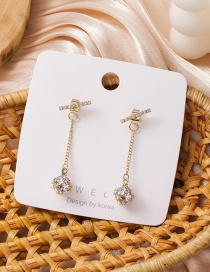Fashion Golden Gold-plated Copper Earrings With Zircon Balls