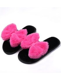 Fashion Rose Red + Black Bowknot Plush Flat Cotton Slippers