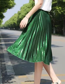 Fashion Green Crumpled Elastic Waist Solid Color Pleated Skirt