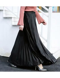 Fashion Black Pleated Elastic Waist Plus Size Skirt