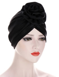 Fashion Black Shiny Silk Wrinkled Forehead With A Flower Forehead Crossover Cap
