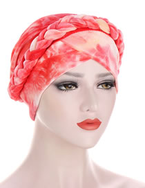 Fashion Red Tie-dyed Brushed Milk Velvet Cloth Braid Turban Hat