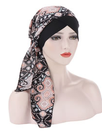 Fashion Black Curved Printed Tail Forehead Cross Cap