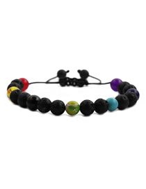 Fashion Fire Mountain Wheel Volcanic Stone Frosted Stone Seven Chakras Contrasting Color Men S Bracelet