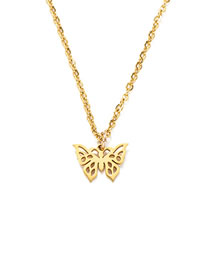 Fashion Golden Butterfly Titanium Steel Fully Polished Laser Cut Butterfly Necklace