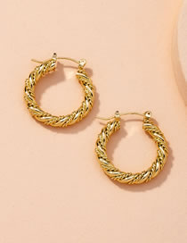 Fashion Golden 01 C Ring Twisted Smooth Alloy Earrings