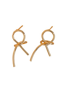 Fashion Golden Big Alloy Bow Knotted Earrings