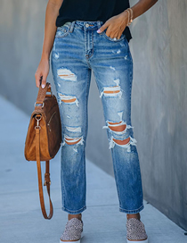 Fashion Light Blue Slim-fit Ripped Washed Mid-rise Jeans