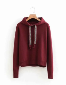 Fashion Dark Red Rhinestone Hooded Knitted Sweater