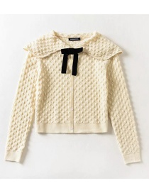 Fashion Beige Doll Collar Bow Knit Sweater