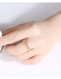 Fashion Gold Color Copper Inlaid Zircon Wave Pattern Ring