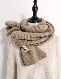 Fashion Khaki Pure Color Pleated Knitted Wool Scarf
