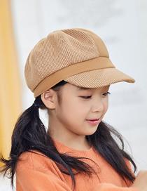 Fashion Khaki Houndstooth Contrast Stitching Children S Octagonal Beret